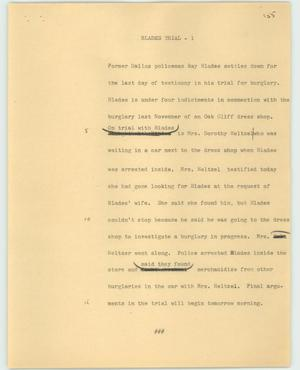 Primary view of object titled '[News Script: Blades trial]'.