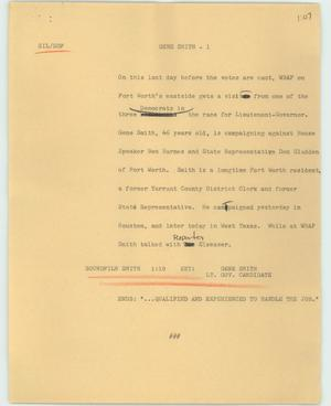 Primary view of object titled '[News Script: Gene Smith]'.