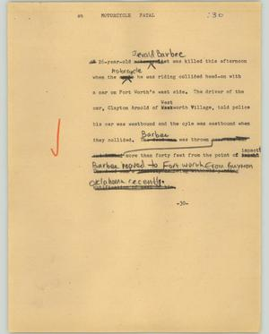 Primary view of object titled '[News Script: Motorcycle fatal]'.