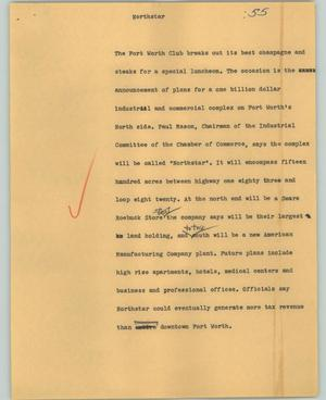 Primary view of object titled '[News Script: Northstar]'.