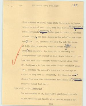 Primary view of object titled '[News Script: New North Texas President]'.