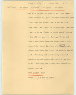 Primary view of object titled '[News Script: Voting in Dallas]'.