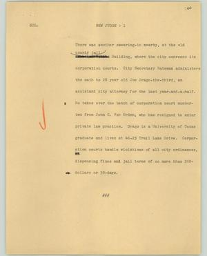 Primary view of object titled '[News Script: New judge]'.