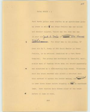 Primary view of object titled '[News Script: Fatal wreck]'.