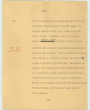 Primary view of object titled '[News Script: Grofe]'.
