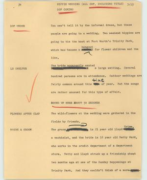 Primary view of object titled '[News Script: Hippie Wedding]'.