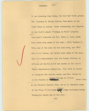 Primary view of object titled '[News Script: Honorees]'.