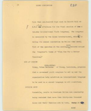 Primary view of object titled '[News Script: Lions convention]'.
