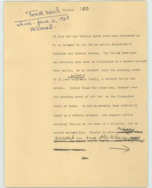 Primary view of object titled '[News Script: Traylor]'.