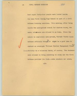 Primary view of object titled '[News Script: Civil defense exercise]'.