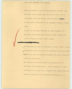 Primary view of object titled '[News Script: Fort Worth Optimist Club Members]'.