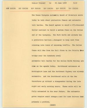 Primary view of object titled '[News Script: Dallas tollway]'.