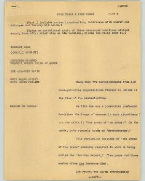 Primary view of object titled '[News Script: Fair trials & free press]'.