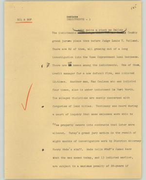 Primary view of object titled '[News Script: Indictments]'.
