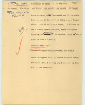 Primary view of object titled '[News Script: Vandergriff on Judge]'.