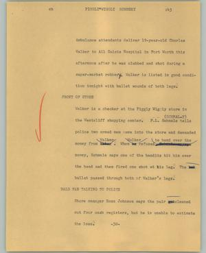 Primary view of object titled '[News Script: Piggly Wiggly Robbery]'.