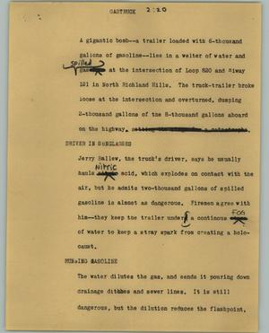 Primary view of object titled '[News Script: Gastruck]'.