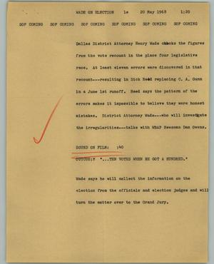 Primary view of object titled '[News Script: Wade on election]'.