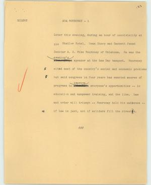 Primary view of object titled '[News Script: ABA Monroney]'.