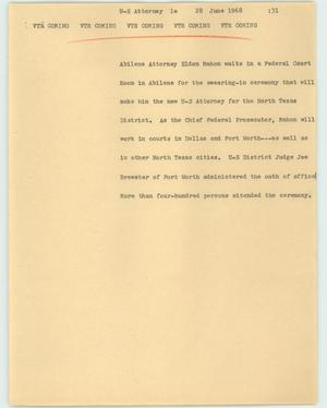 Primary view of object titled '[News Script: US Attorney]'.
