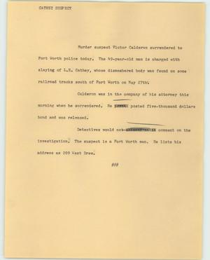Primary view of object titled '[News Script: Cathey suspect]'.