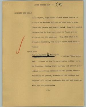 Primary view of object titled '[News Script: Armed forces day]'.
