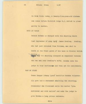 Primary view of object titled '[News Script: McGaha trial]'.