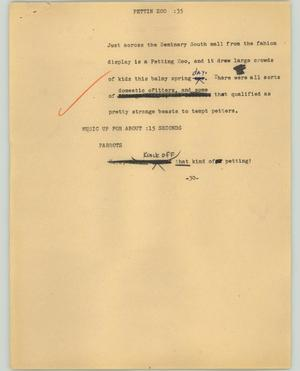 Primary view of object titled '[News Script: Pettin Zoo]'.