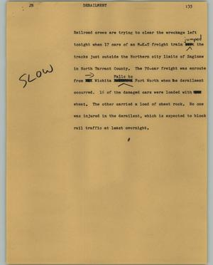 Primary view of object titled '[News Script: Derailment]'.