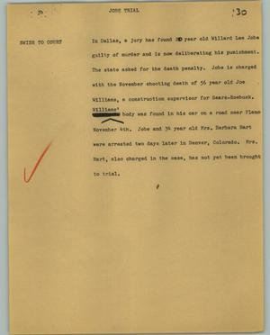 Primary view of object titled '[News Script: Jobe trial]'.