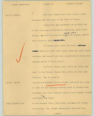 Primary view of object titled '[News Script: Wright sentencing]'.