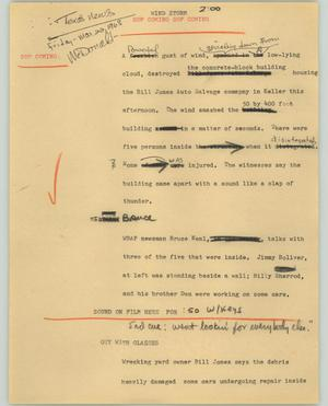 Primary view of object titled '[News Script: Wind storm]'.
