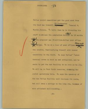 Primary view of object titled '[News Script: Postmaster]'.