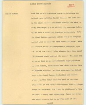 Primary view of object titled '[News Script: Dallas county election]'.