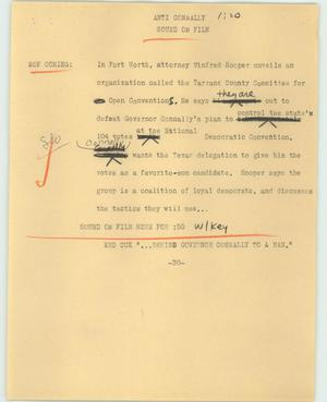 Primary view of object titled '[News Script: Anti Connally]'.