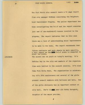 Primary view of object titled '[News Script: Fort Worth council]'.