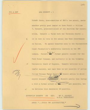 Primary view of object titled '[News Script: ABA Gossett]'.