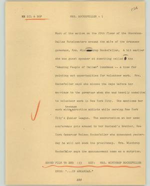 Primary view of object titled '[News Script: Mrs. Rockefeller]'.