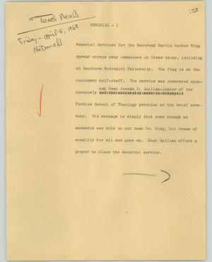 Primary view of object titled '[News Script: Memorial]'.