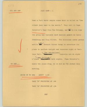 Primary view of object titled '[News Script: Jazz band]'.