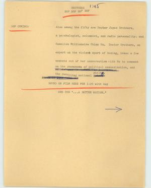 Primary view of object titled '[News Script: Brothers]'.