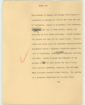 Primary view of object titled '[News Script: Bunny war]'.