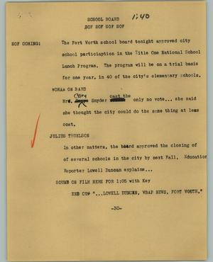 Primary view of object titled '[News Script: School board]'.
