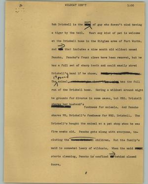 Primary view of object titled '[News Script: Wildcat isn't]'.