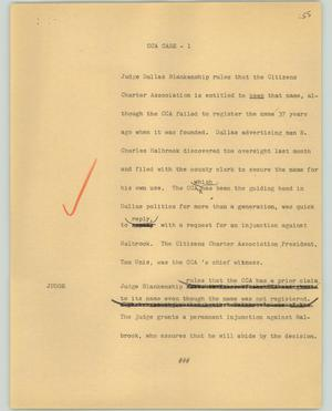 Primary view of object titled '[News Script: CCA case]'.