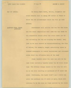 Primary view of object titled '[News Script: City sales tax]'.