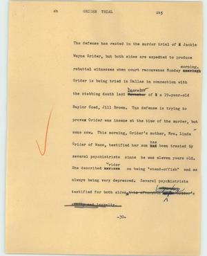 Primary view of object titled '[News Script: Grider trial]'.