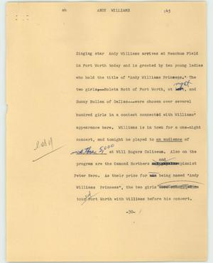 Primary view of object titled '[News Script: Andy Williams]'.