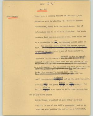 Primary view of object titled '[News Script: Milk]'.