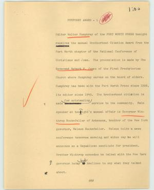 Primary view of object titled '[News Script: Humphrey Award]'.